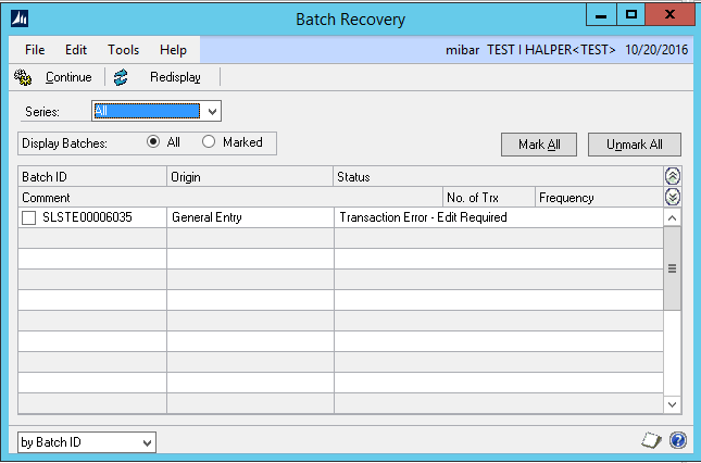 batch recovery in Microsoft Dynamics GP
