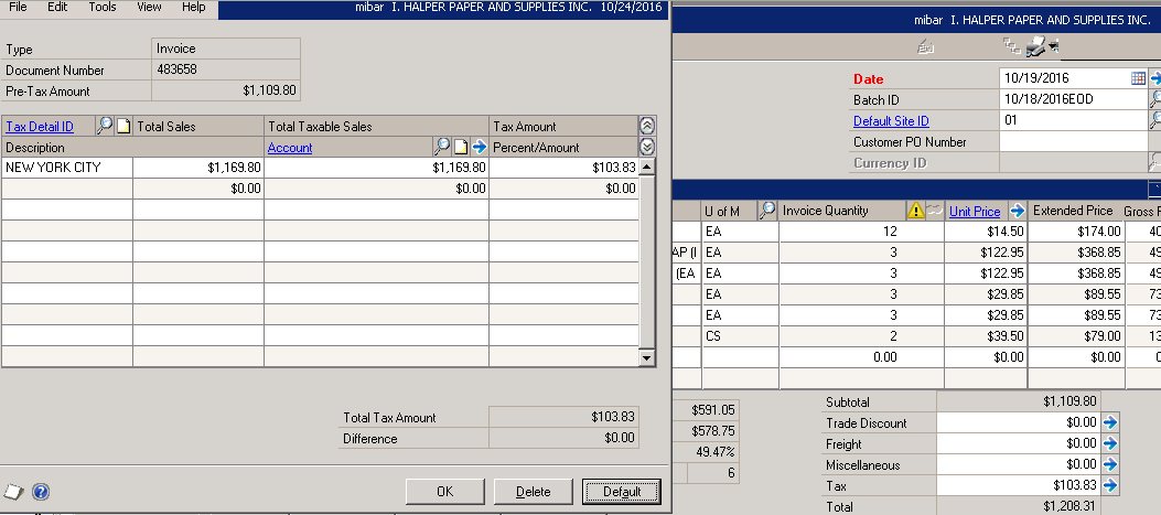 Invoice Tax Adjustment Dynamics GP