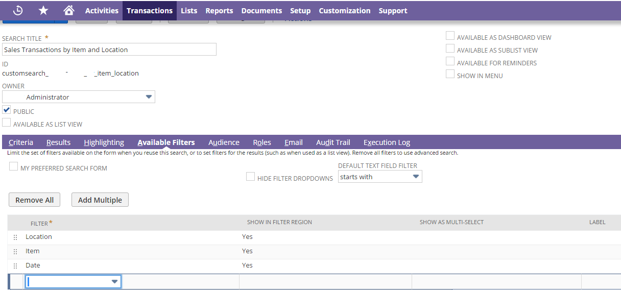 NetSuite Saved Search Filters