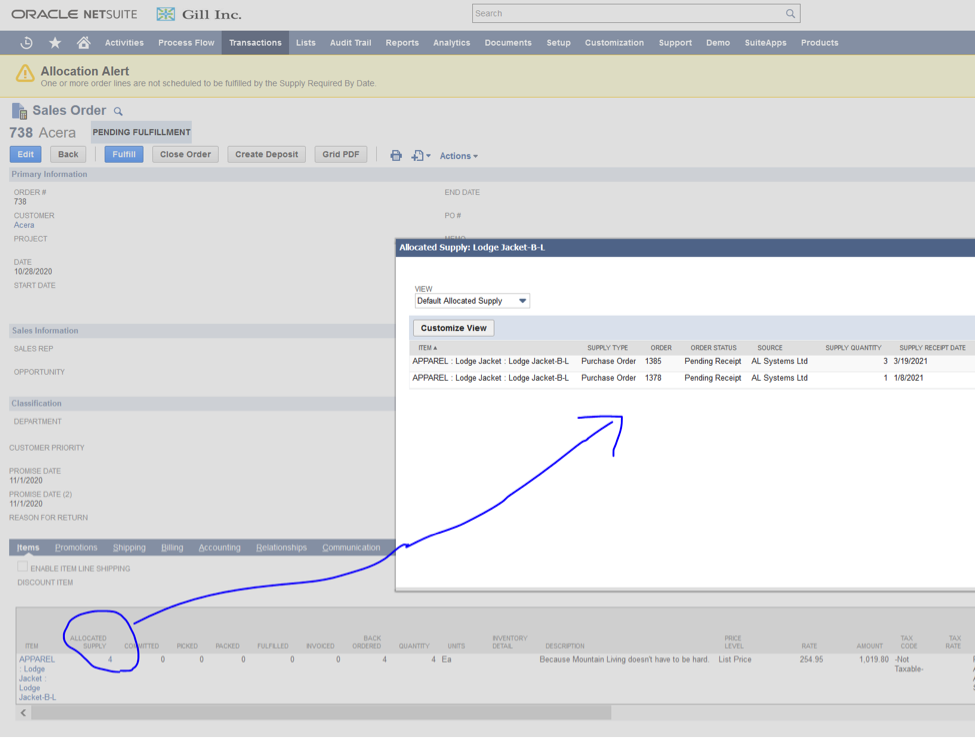 NetSuite Allocate Inventory